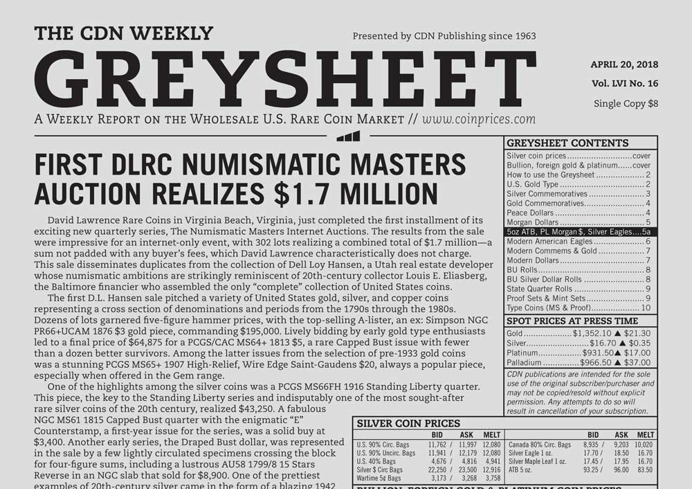 main image for GREYSHEET: FIRST DLRC NUMISMATIC MASTERS AUCTION REALIZES $1.7 MILLION