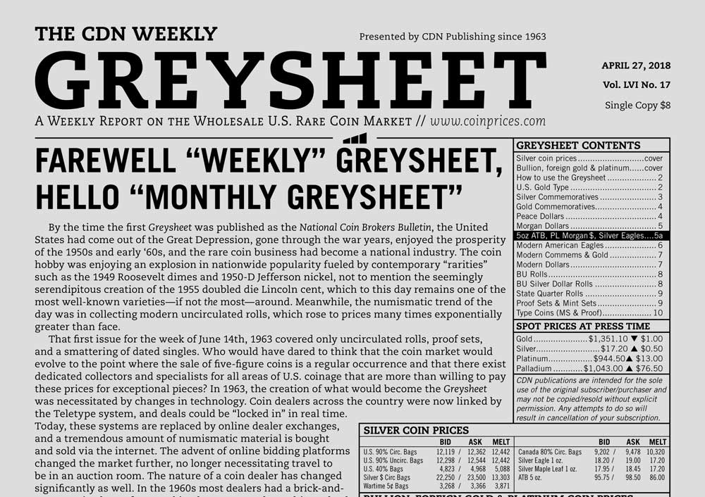 "thumbnail image for GREYSHEET: FAREWELL ""WEEKLY"" GREYSHEET, HELLO ""MONTHLY GREYSHEET"""