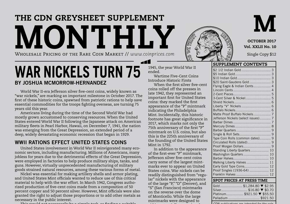 main image for MONTHLY SUPPLEMENT: WAR NICKELS TURN 75