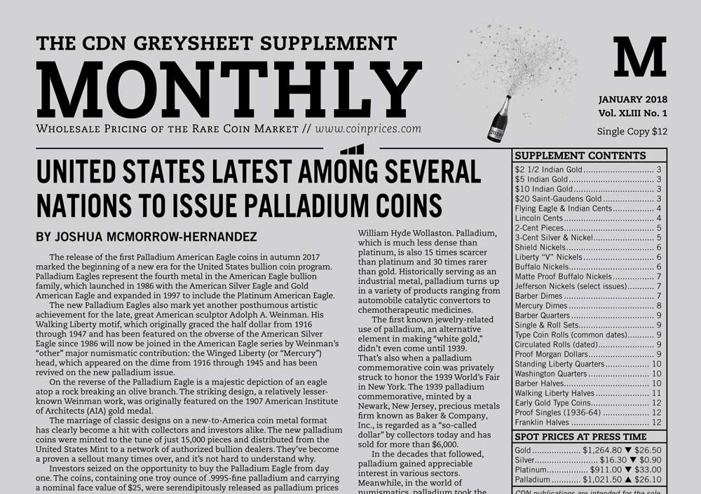 main image for UNITED STATES LATEST AMONG SEVERAL NATIONS TO ISSUE PALLADIUM COINS