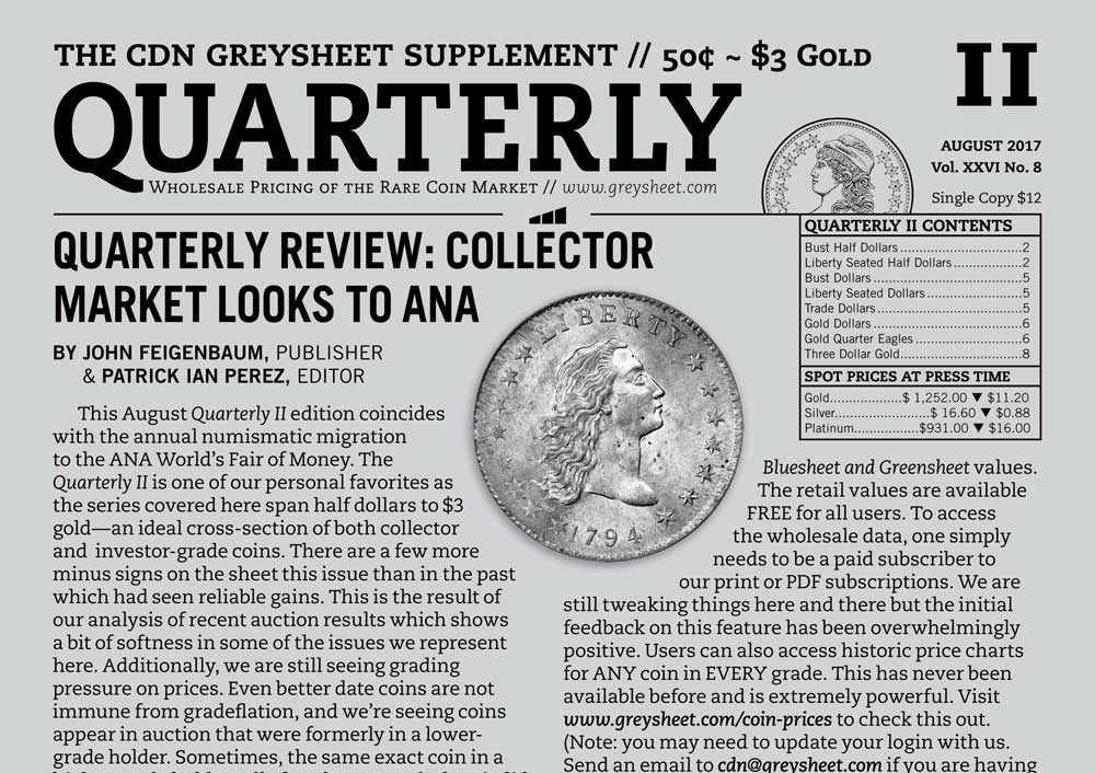 main image for QUARTERLY REVIEW: QUARTERLY REVIEW: COLLECTOR MARKET LOOKS TO ANA
