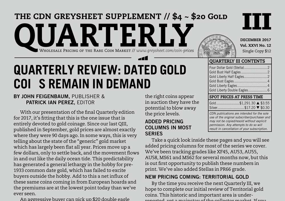 main image for QUARTERLY REVIEW: DATED GOLD COINS REMAIN IN DEMAND