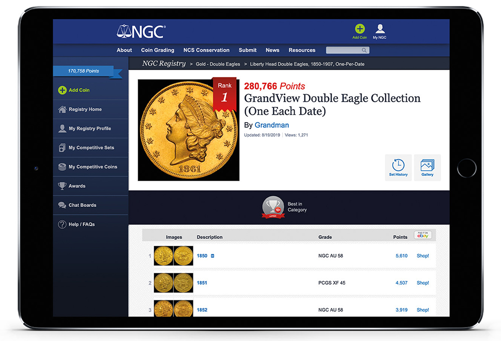 main image for NGC Registry now allows PCGS coins in competitive sets