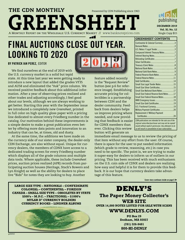 enlarged image for Final auctions close out the year. Looking to 2020 (December 2019 Greensheet)