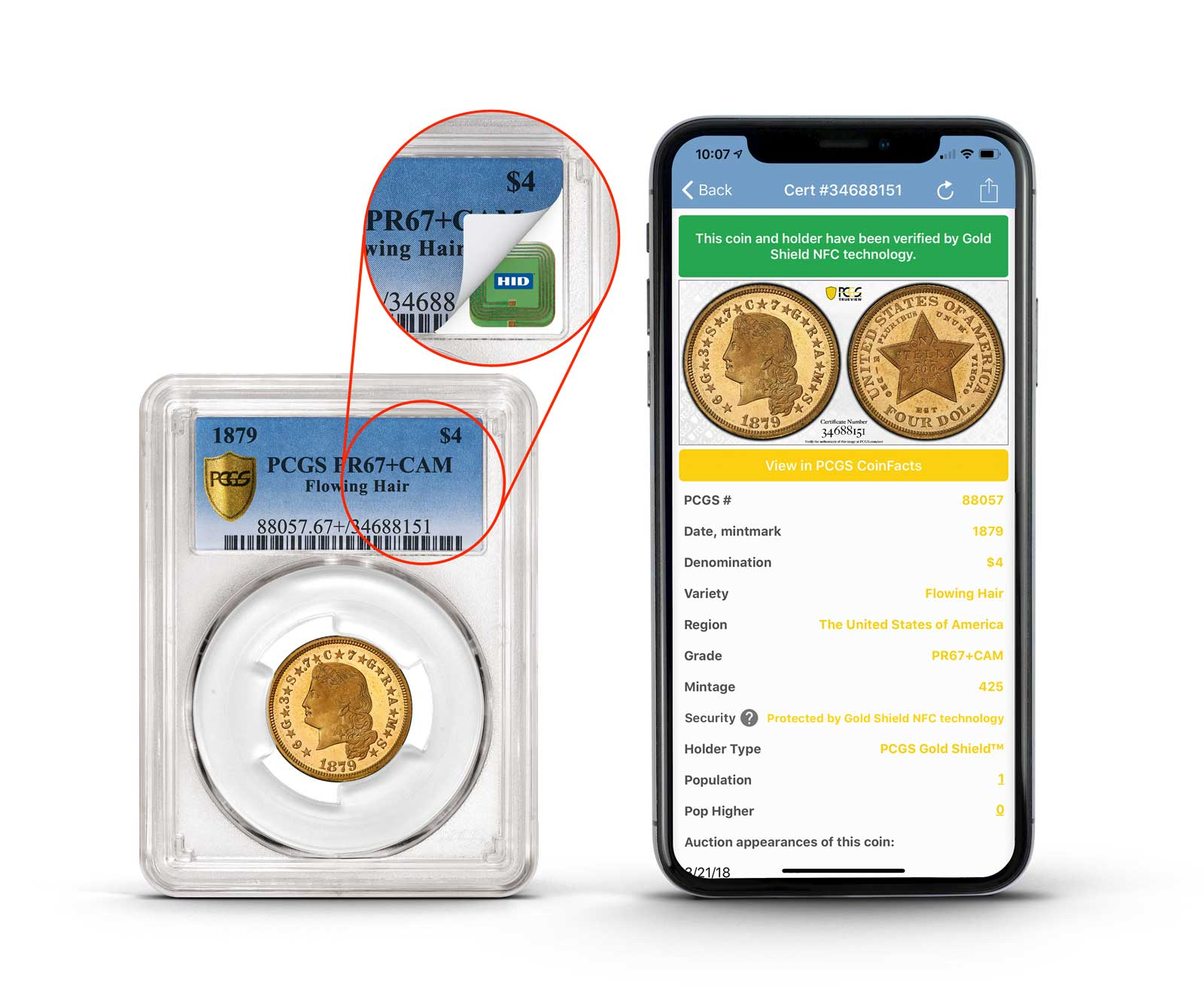 main image for PCGS Launches NFC Technology in their Slabs