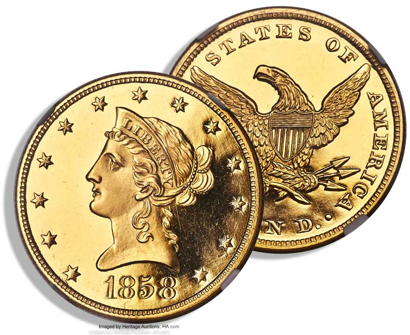 main image for Historic 1858 Proof Liberty Eagle Gold Coin Offered at Heritage Auctions