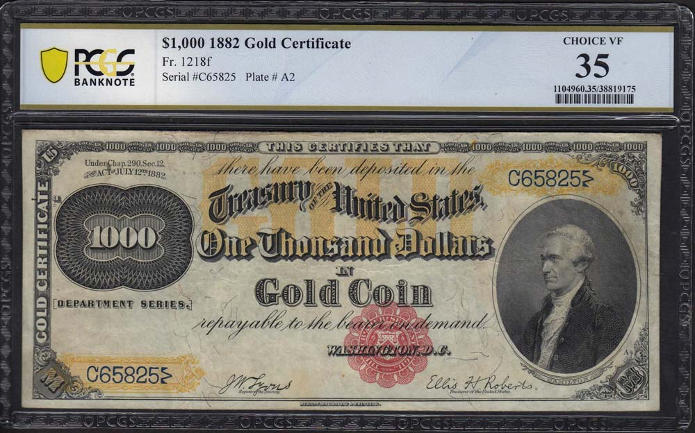 thumbnail image for GreatCollections to auction ultra-rare 1882 $1,000 Gold Certificate