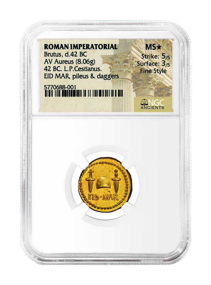 thumbnail image for NGC Ancients Certifies Fabled EID MAR (Ides of March) Aureus of Brutus