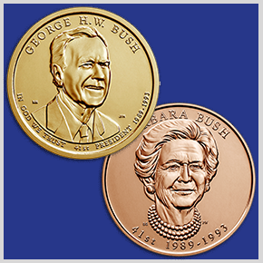 main image for Presidential $1 Coin & First Spouse Medal Set™ Honoring George H.W. and Barbara Bush Available on December 21