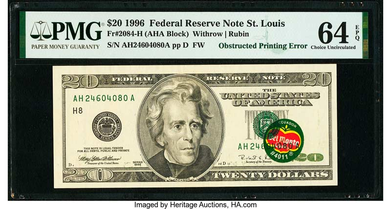 thumbnail image for Collectors Go Bananas and Pay Nearly $400,000 For Del Monte-Stickered $20 Bill