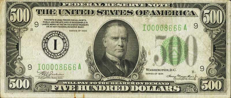 US $500 dollar bill