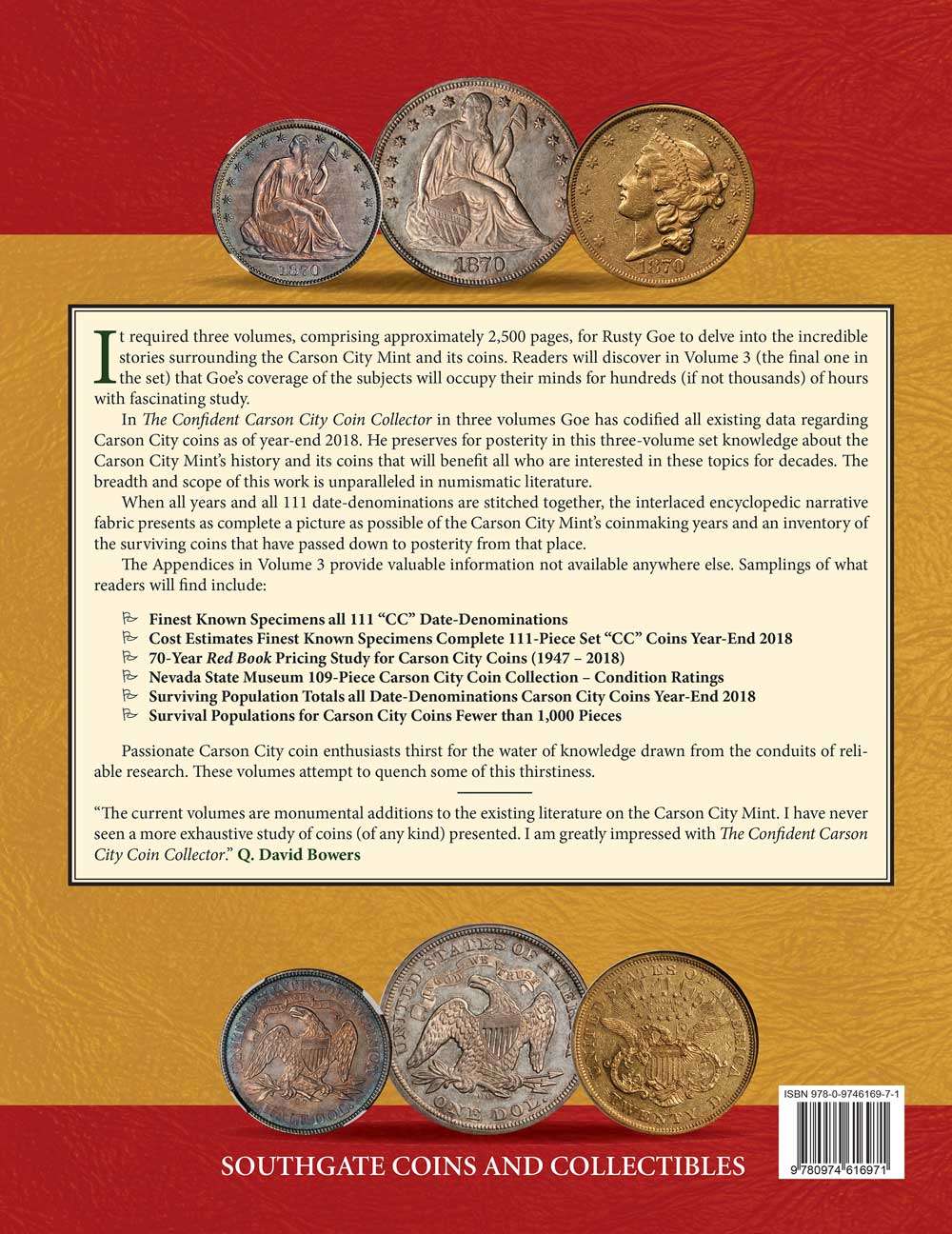 The back cover of The Confident Carson City Coin Collector