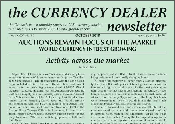 thumbnail image for Greensheet: Activity Across the Rare Currency Market