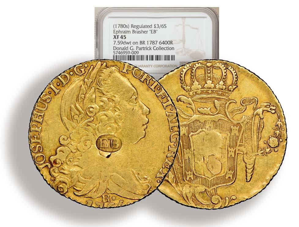 1766-R 6400 Reis gold Brazil with Brasher Mark