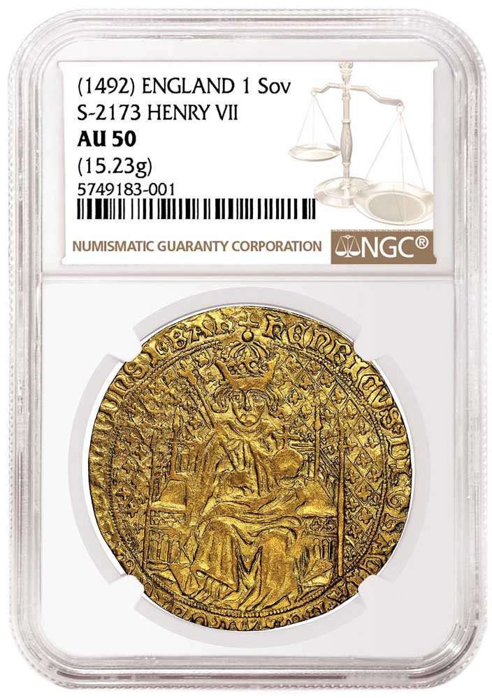 An extremely rare type 2 Henry VII Sovereign certified by NGC on offer by the Royal Mint March 4, 2021