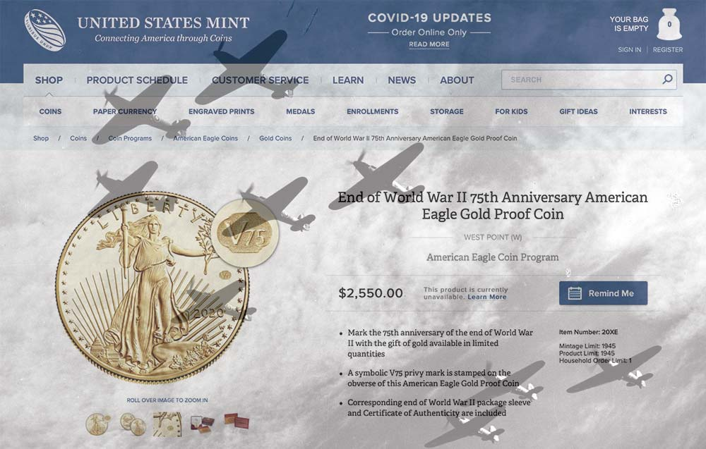 main image for The Battle (vs. The U.S. Mint Web Site!) for the End of World War II Coins