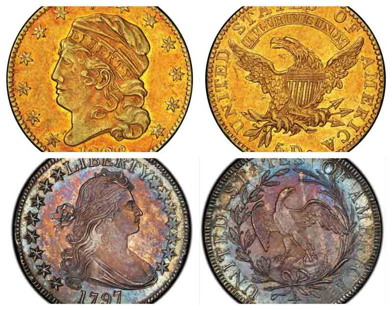 1822 Capped Head Left half eagle from the D. Brent Pogue Collection (Top) and 1797 Draped Bust half dollar (Bottom)