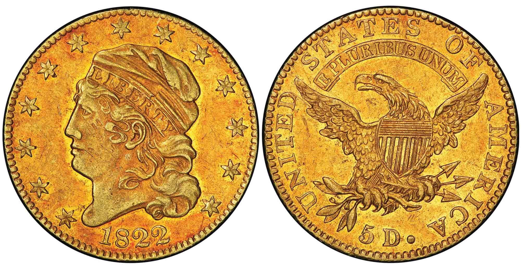 The 1822 half eagle is a legendary American treasure.