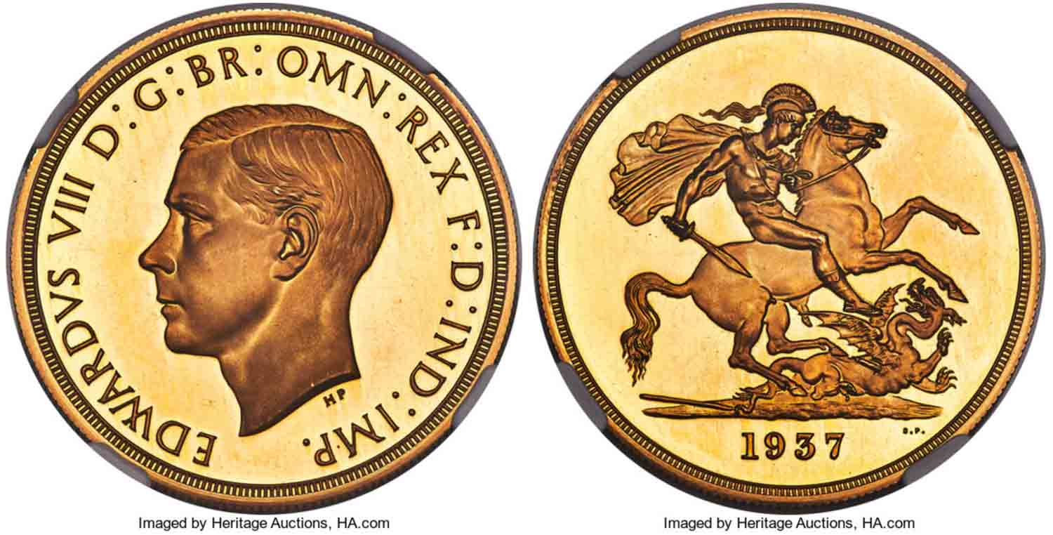 1937 Edward VIII 5 Pounds gold coin was struck but never released after King abdicated throne.