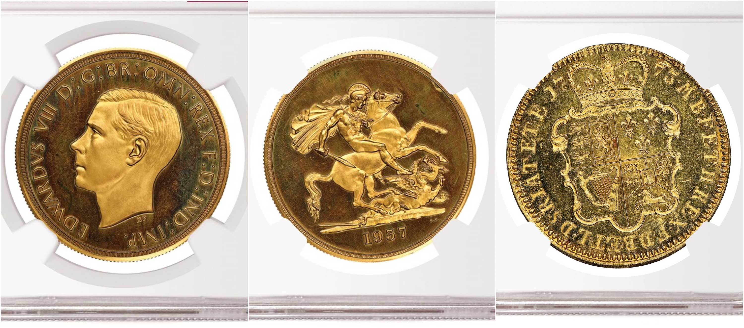 thumbnail image for NGC-certified Edward VIII Gold 5 Sovereign Realizes $2.28 Million, Smashing the Record for a British Coin Sold at Auction