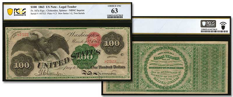 "The leading lot of the night was the Fr.167a 1863 $100 ""Spread Eagle"" Legal Tender Note."