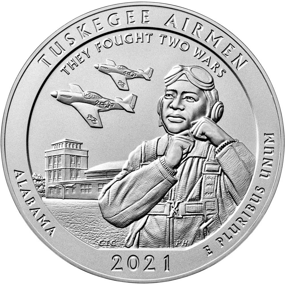The America the Beautiful Five Ounce Silver Uncirculated Coin™ honoring the Tuskegee Airmen National Historic Site in Alabama
