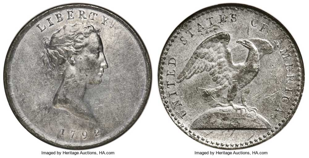 thumbnail image for Partrick, Simpson Collections Highlight CSNS Event at Heritage Auctions April 22-25: 1792 Judd-13 White Metal Quarter offered for first time in history