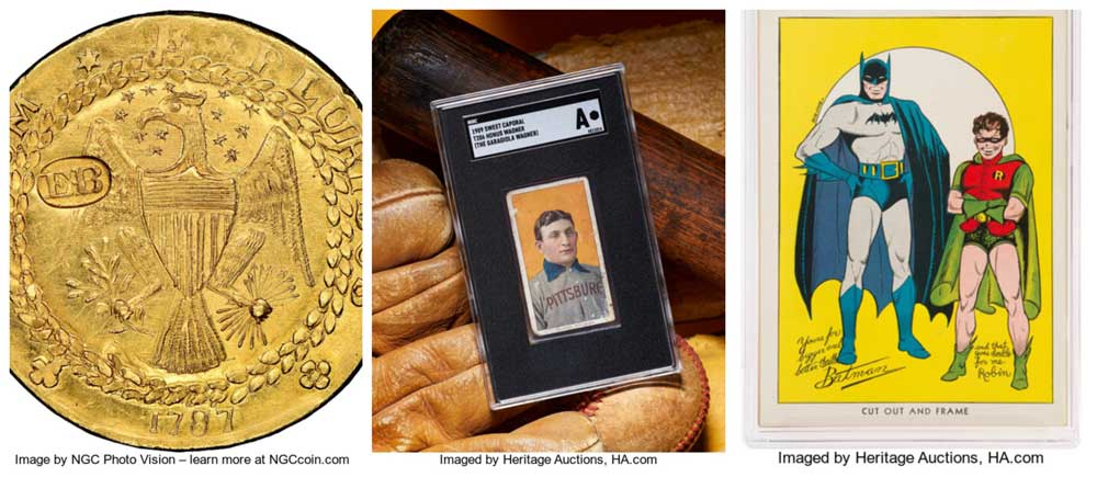 Sales of U.S. and world coins and sports set world records, firm tracks 80 percent of bids from online sources.