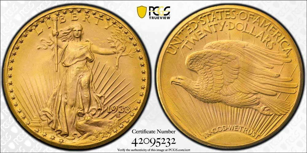 PCGS Certifies Ultra-Rare MS65 1933 Saint-Gaudens Double Eagle Gold Coin
