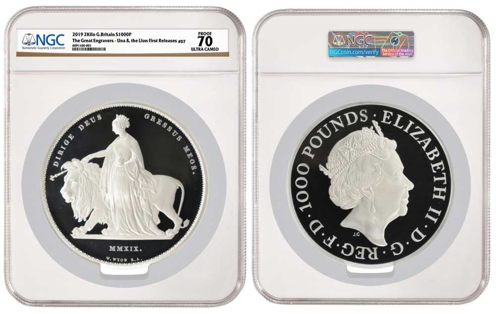 thumbnail image for NGC-certified 2019 2 Kilo Silver 'Una and the Lion' Offered in First-Ever Sale