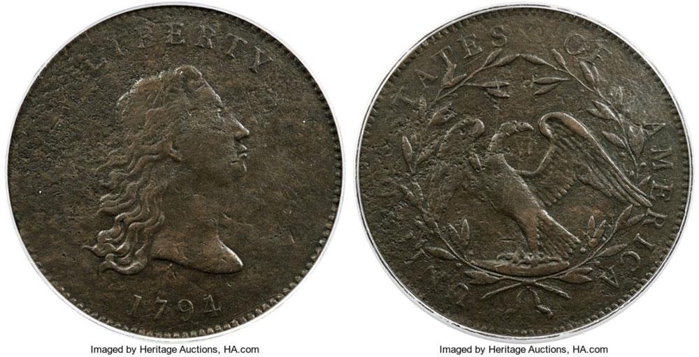 1794 No Stars Flowing Hair dollar blows past $350,000-$500,000 pre-auction estimate.