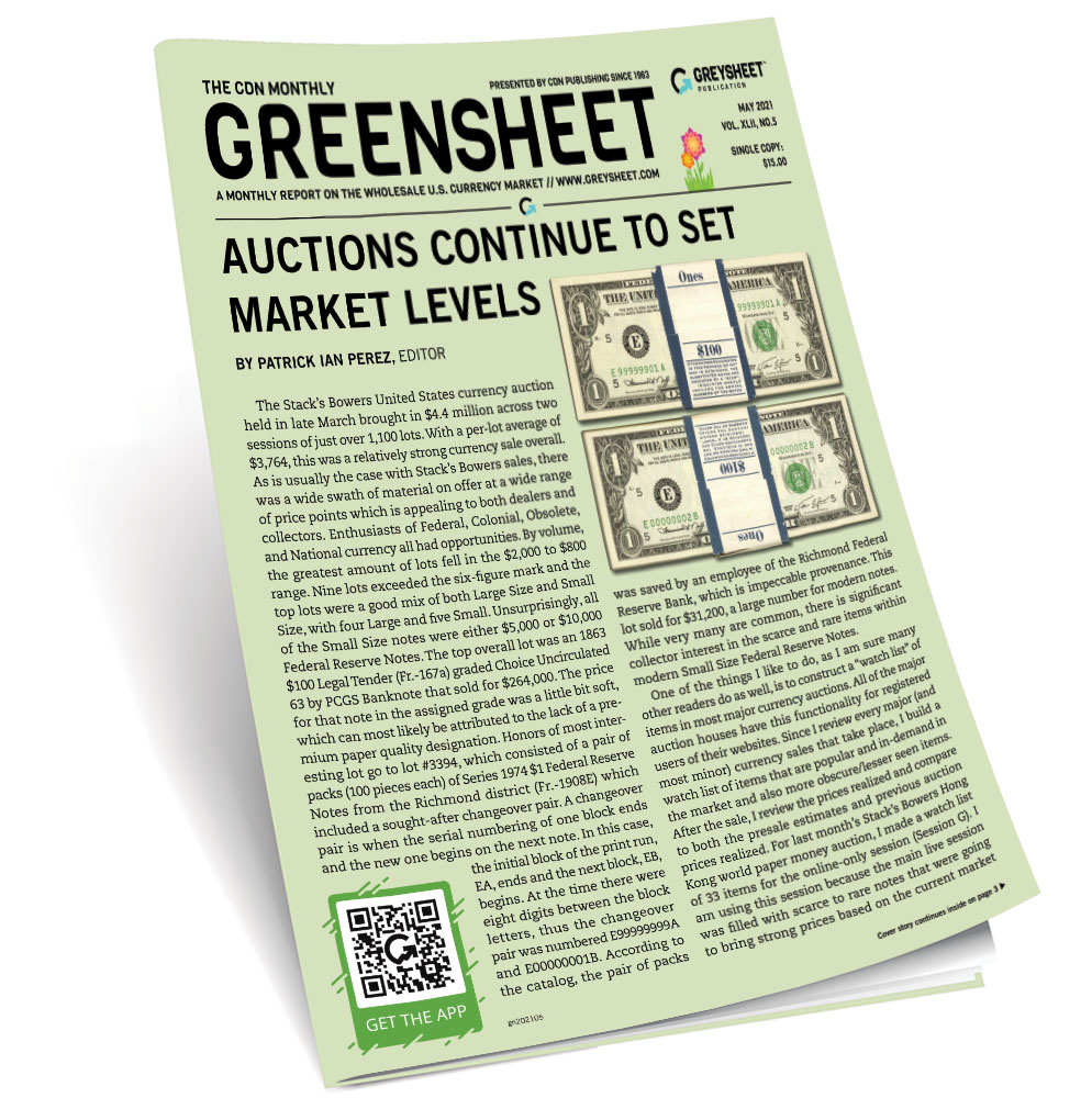 thumbnail image for May 2021 Greensheet Market Report: Auctions Continue to Set Market Levels