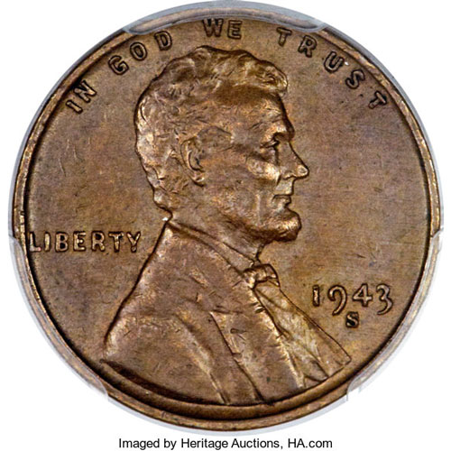 """One of the many highlight coins in the Long Beach auction is the second finest known 1943-S bronze (or """"copper"""") Lincoln cent"""