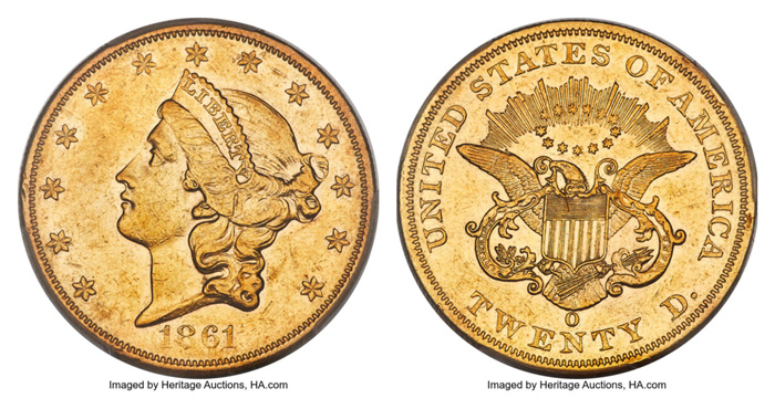 The 1861-O double eagle is among the most historically significant issues in the series. Its production coincides with the outbreak of the Civil War, and, more specifically, the period in which the New Orleans Mint fell out of the control of the Union into that of the State of Louisiana, and later the Confederacy itself.