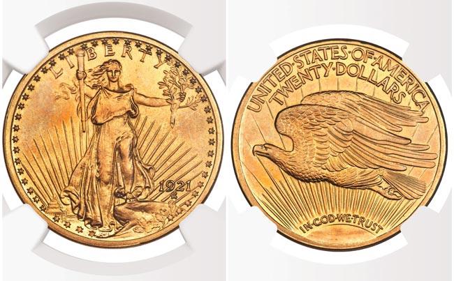 1921 Roman Finish $20 Saint Gaudens Graded NGC Proof 64+