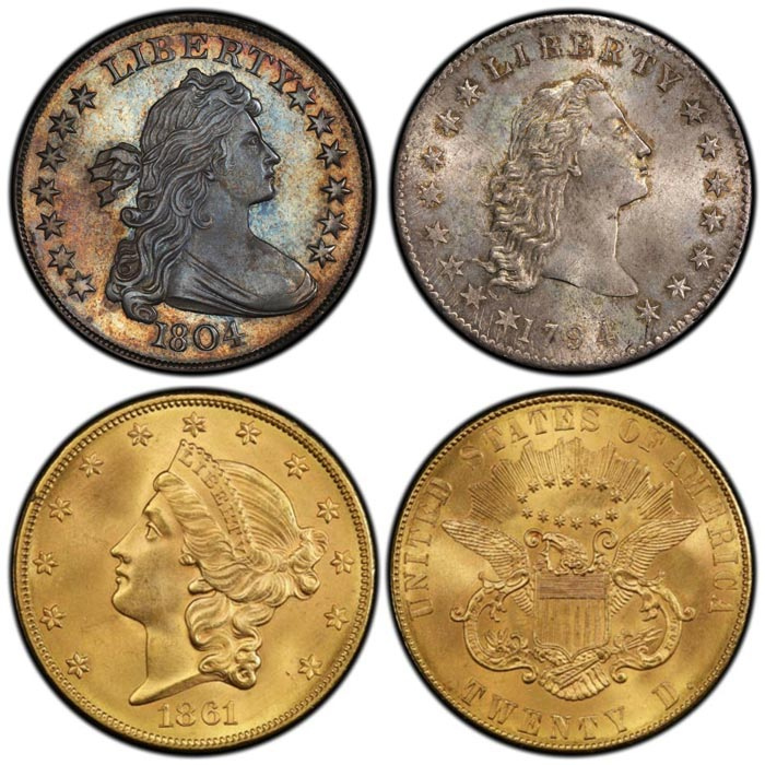 1804 Class I Original Draped Bust dollar (Left), 1794 Flowing Hair dollar (Right), 1861 Paquet Reverse Double Eagle (Bottom)