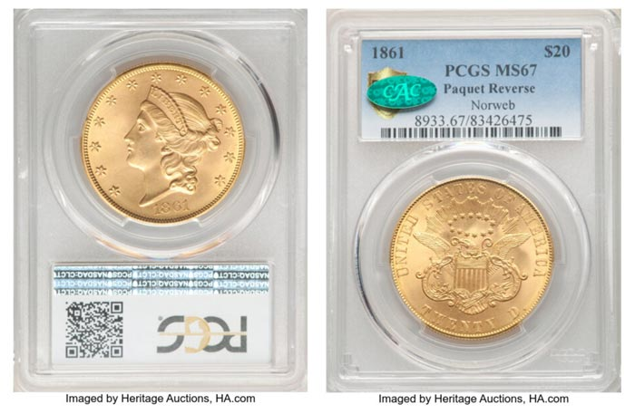 This Amazing 1861 Paquet Double Eagle graded PCGS MS67 CAC Drew 75 Bids and Realized $7.2 Million