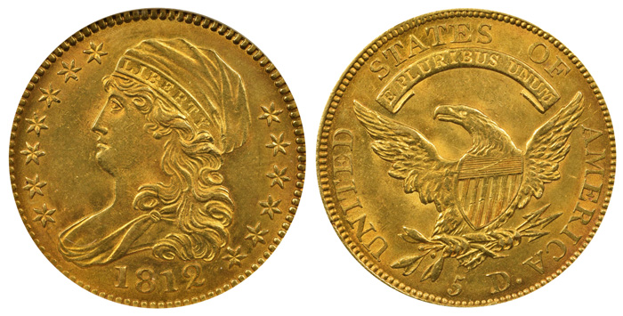 """The highlight of the sale: An 1812 $5 """"Capped Bust"""" half-eagle."""