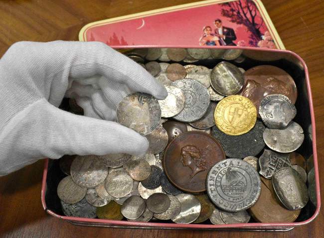 thumbnail image for 1652 New England Shilling, Continental Dollar and Other Early American Coins Discovered in UK Sweet Tin