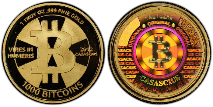 thumbnail image for World's Most Valuable Numismatic Item,  $48 Million Gold 1,000 Bitcoin Physical Coin, Submitted by GreatCollections to PCGS