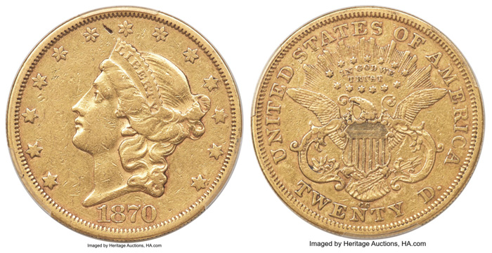 thumbnail image for 1870-CC Double Eagle, 1934 $10,000 Federal Reserve Note Lead $15 Million Long Beach Coins and Currency Auctions